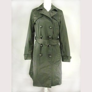 Mossimo Women's Trench Coat Size L Gray Belted